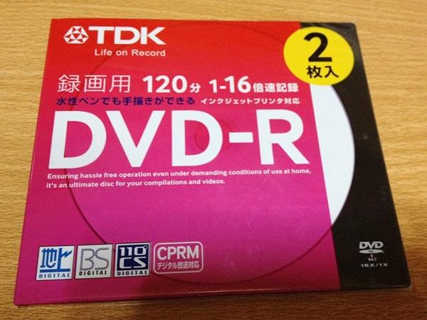 TDK DVD-R2枚組み。購入atキャンドゥ